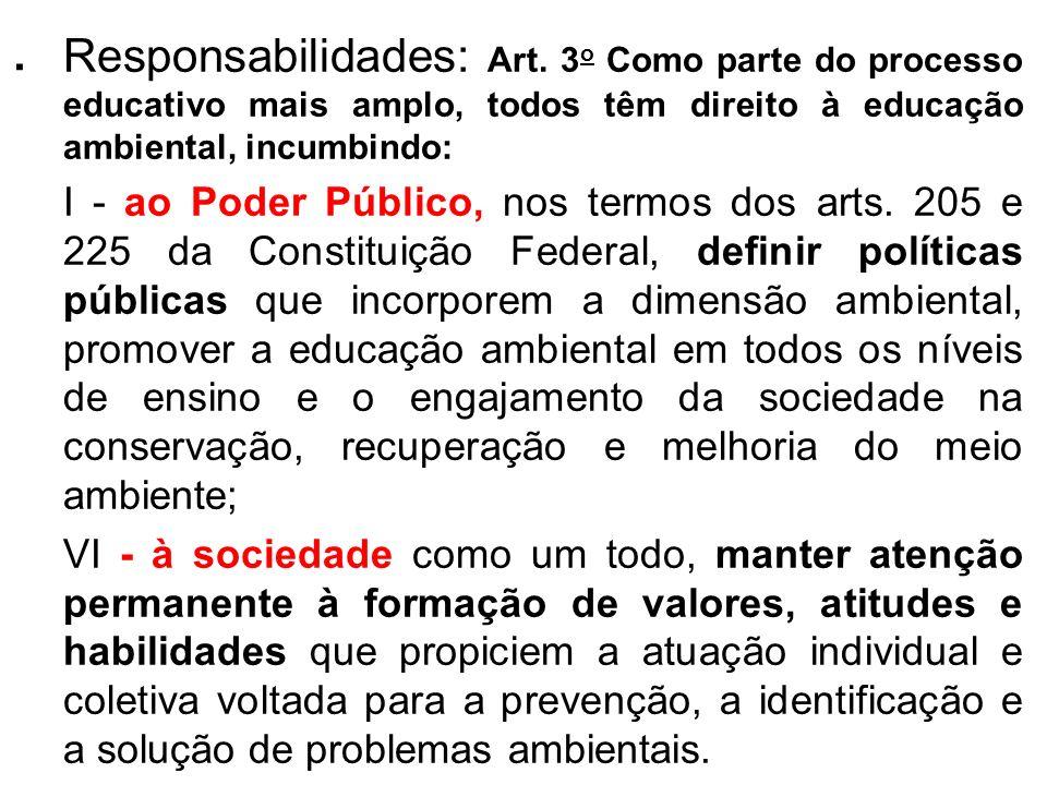 . Responsabilidades: Art. 3 o Como parte do processo educativo mais amplo, todos têm direito à educação ambiental, incumbindo: I - ao Poder Público, n