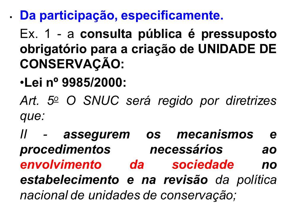 . Da participação, especificamente. Ex. 1 - a consulta pública é pressuposto obrigatório para a criação de UNIDADE DE CONSERVAÇÃO: Lei nº 9985/2000: A