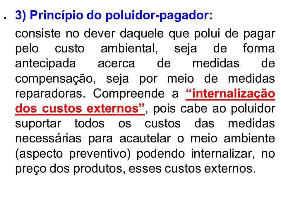 . 3) Princípio do poluidor-pagador: consiste no dever daquele que polui de pagar pelo custo ambiental, seja de forma antecipada acerca de medidas de c