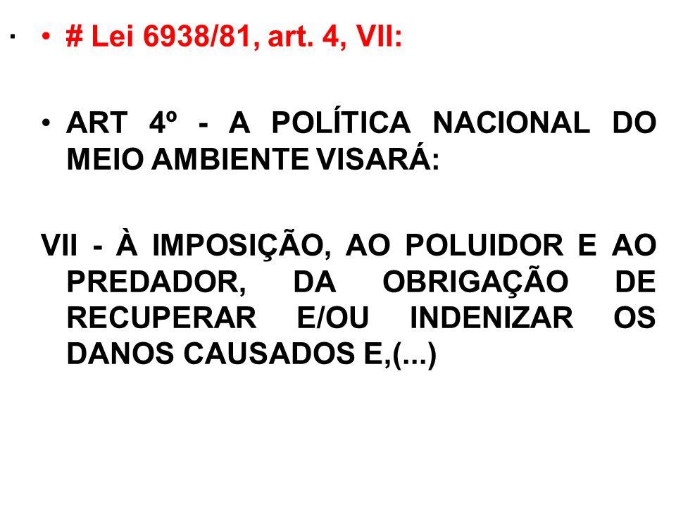 . # Lei 6938/81, art. 4, VII: ART 4º - A POLÍTICA NACIONAL DO MEIO AMBIENTE VISARÁ: VII - À IMPOSIÇÃO, AO POLUIDOR E AO PREDADOR, DA OBRIGAÇÃO DE RECU