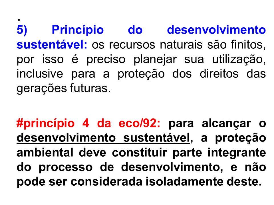 . 5) Princípio do desenvolvimento sustentável: os recursos naturais são finitos, por isso é preciso planejar sua utilização, inclusive para a proteção