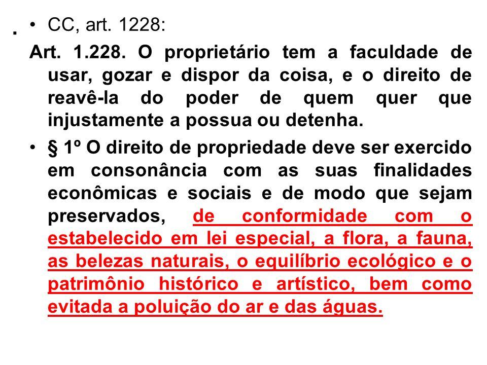 . CC, art. 1228: Art. 1.228. O proprietário tem a faculdade de usar, gozar e dispor da coisa, e o direito de reavê-la do poder de quem quer que injust