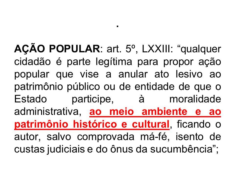 . AÇÃO POPULAR: art. 5º, LXXIII: qualquer cidadão é parte legítima para propor ação popular que vise a anular ato lesivo ao patrimônio público ou de e