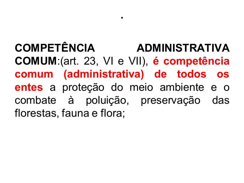 . COMPETÊNCIA ADMINISTRATIVA COMUM:(art. 23, VI e VII), é competência comum (administrativa) de todos os entes a proteção do meio ambiente e o combate