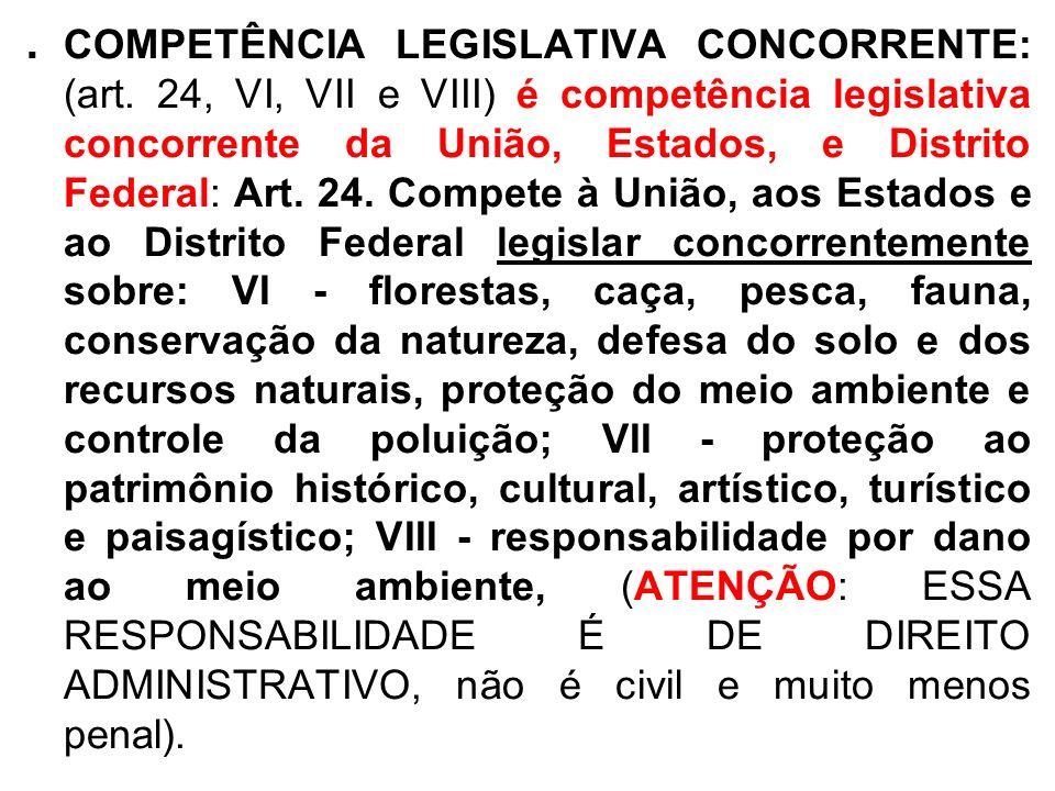 . COMPETÊNCIA LEGISLATIVA CONCORRENTE: (art. 24, VI, VII e VIII) é competência legislativa concorrente da União, Estados, e Distrito Federal: Art. 24.