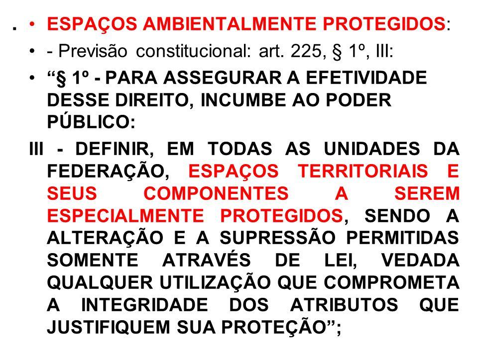 . ESPAÇOS AMBIENTALMENTE PROTEGIDOS: - Previsão constitucional: art. 225, § 1º, III: § 1º - PARA ASSEGURAR A EFETIVIDADE DESSE DIREITO, INCUMBE AO POD