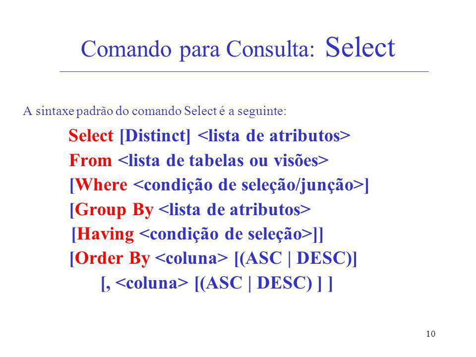 10 Comando para Consulta: Select A sintaxe padrão do comando Select é a seguinte: Select [Distinct] From [Where ] [Group By [Having ]] [Order By [(ASC