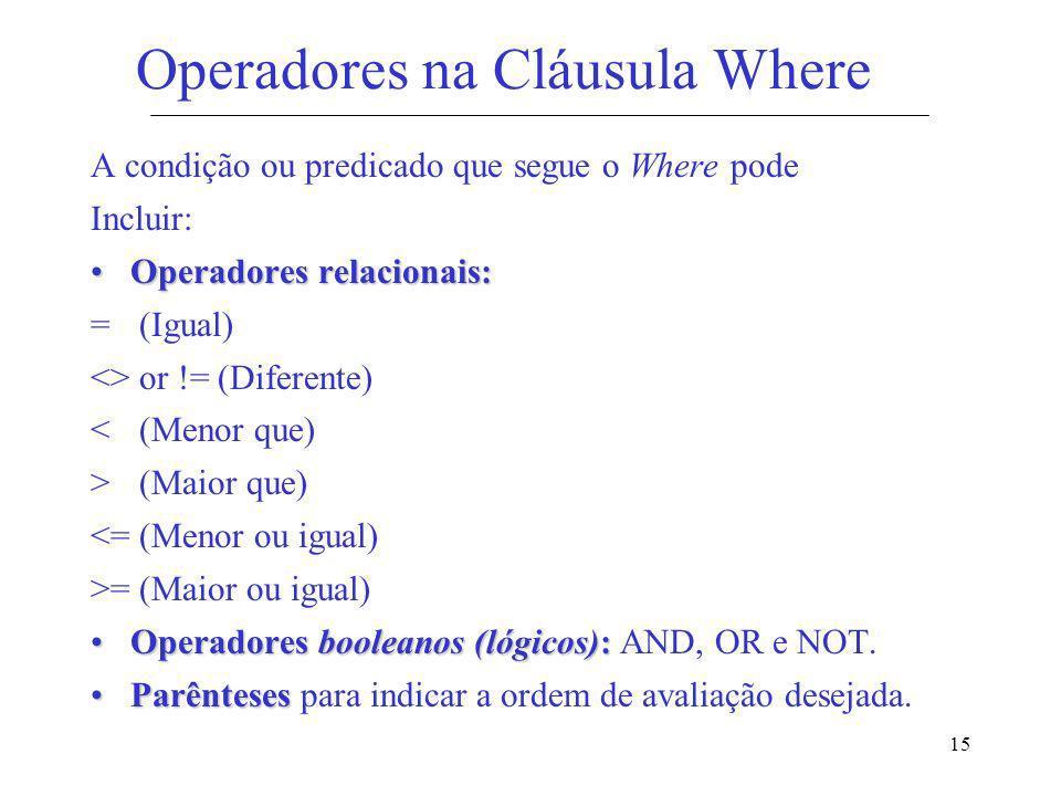 15 Operadores na Cláusula Where A condição ou predicado que segue o Where pode Incluir: Operadores relacionais:Operadores relacionais: = (Igual) <> or