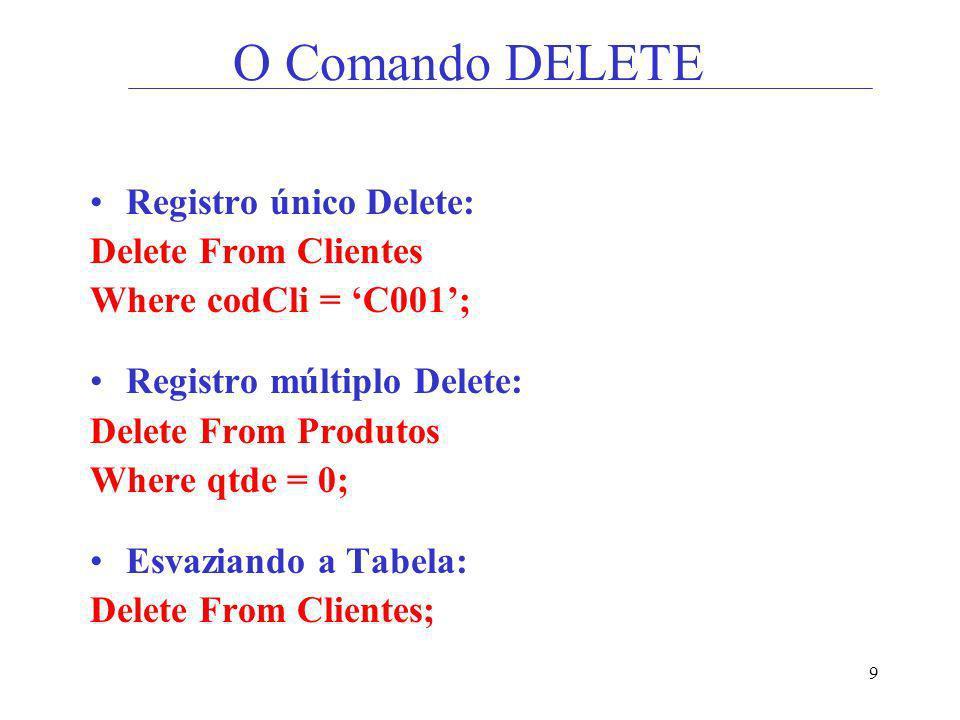 9 O Comando DELETE Registro único Delete: Delete From Clientes Where codCli = C001; Registro múltiplo Delete: Delete From Produtos Where qtde = 0; Esv