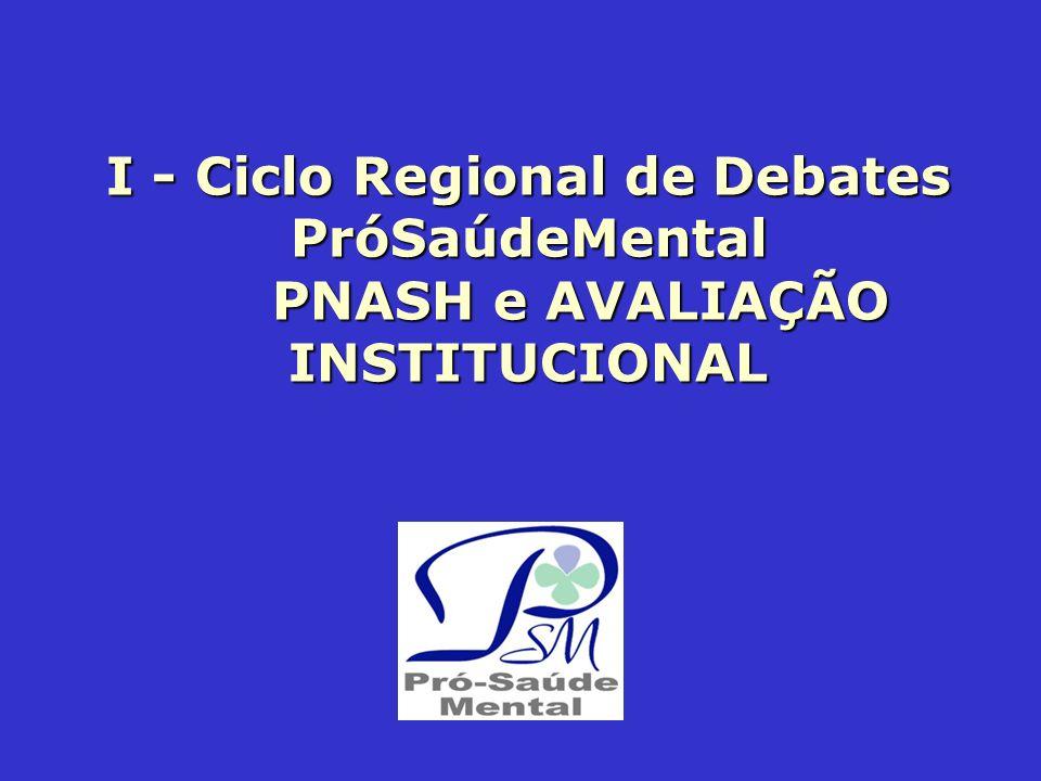 I - Ciclo Regional de Debates PróSaúdeMental PNASH e AVALIAÇÃO INSTITUCIONAL