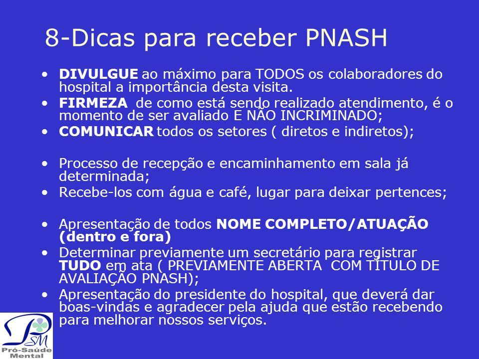 8-Dicas para receber PNASH DIVULGUE ao máximo para TODOS os colaboradores do hospital a importância desta visita.