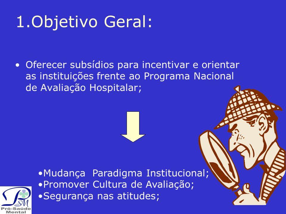 1.Objetivo Geral: Oferecer subsídios para incentivar e orientar as instituições frente ao Programa Nacional de Avaliação Hospitalar; Mudança Paradigma Institucional; Promover Cultura de Avaliação; Segurança nas atitudes;