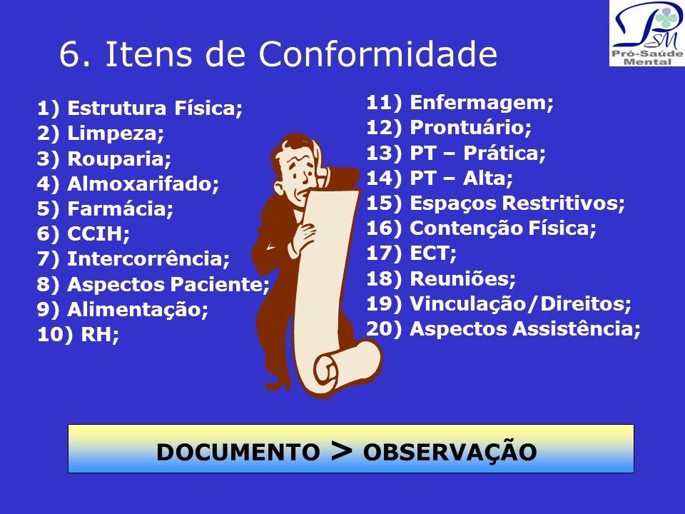 6. Itens de Conformidade 1) Estrutura Física; 2) Limpeza; 3) Rouparia; 4) Almoxarifado; 5) Farmácia; 6) CCIH; 7) Intercorrência; 8) Aspectos Paciente;