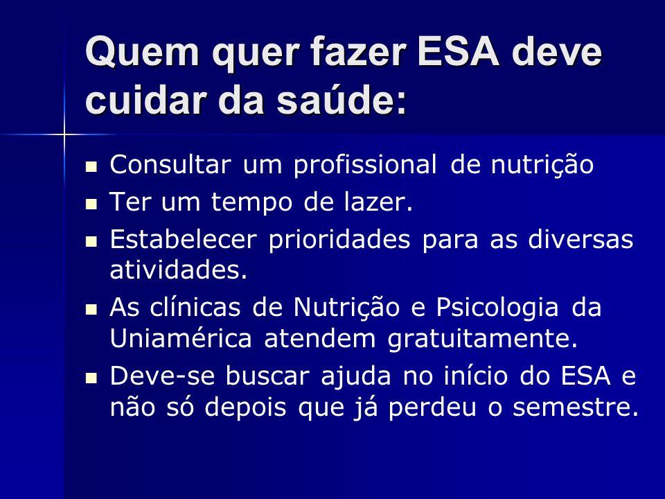 Quem quer fazer ESA deve cuidar da saúde: Consultar um profissional de nutrição Ter um tempo de lazer. Estabelecer prioridades para as diversas ativid