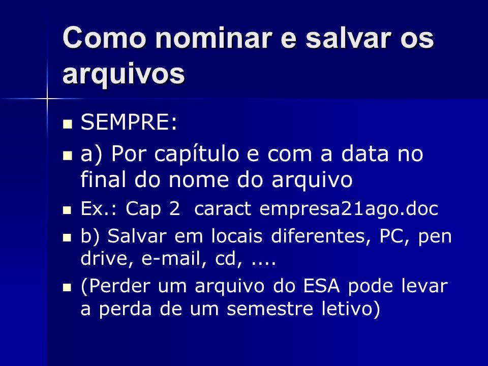 Como nominar e salvar os arquivos SEMPRE: a) Por capítulo e com a data no final do nome do arquivo Ex.: Cap 2 caract empresa21ago.doc b) Salvar em loc