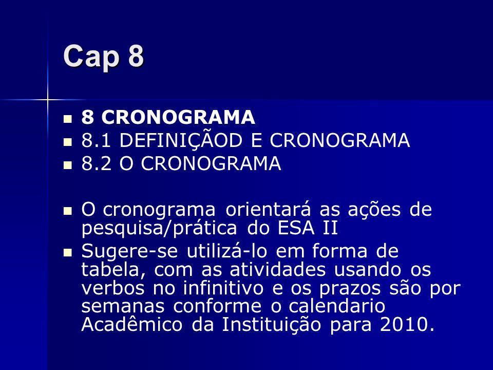 Cap 8 8 CRONOGRAMA 8.1 DEFINIÇÃOD E CRONOGRAMA 8.2 O CRONOGRAMA O cronograma orientará as ações de pesquisa/prática do ESA II Sugere-se utilizá-lo em