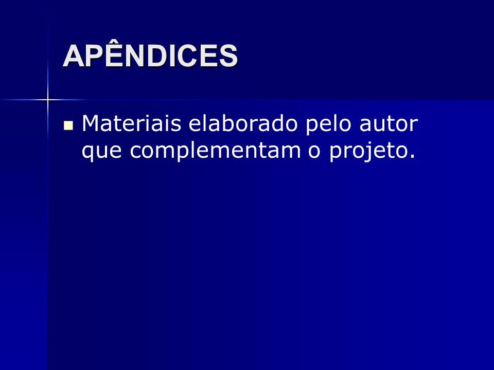 APÊNDICES Materiais elaborado pelo autor que complementam o projeto.