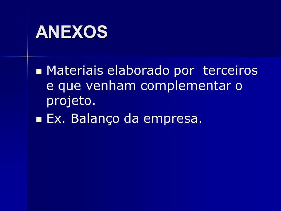 ANEXOS Materiais elaborado por terceiros e que venham complementar o projeto. Ex. Balanço da empresa.