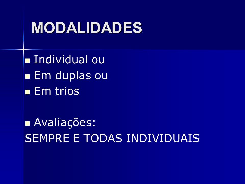 MODALIDADES Individual ou Em duplas ou Em trios Avaliações: SEMPRE E TODAS INDIVIDUAIS