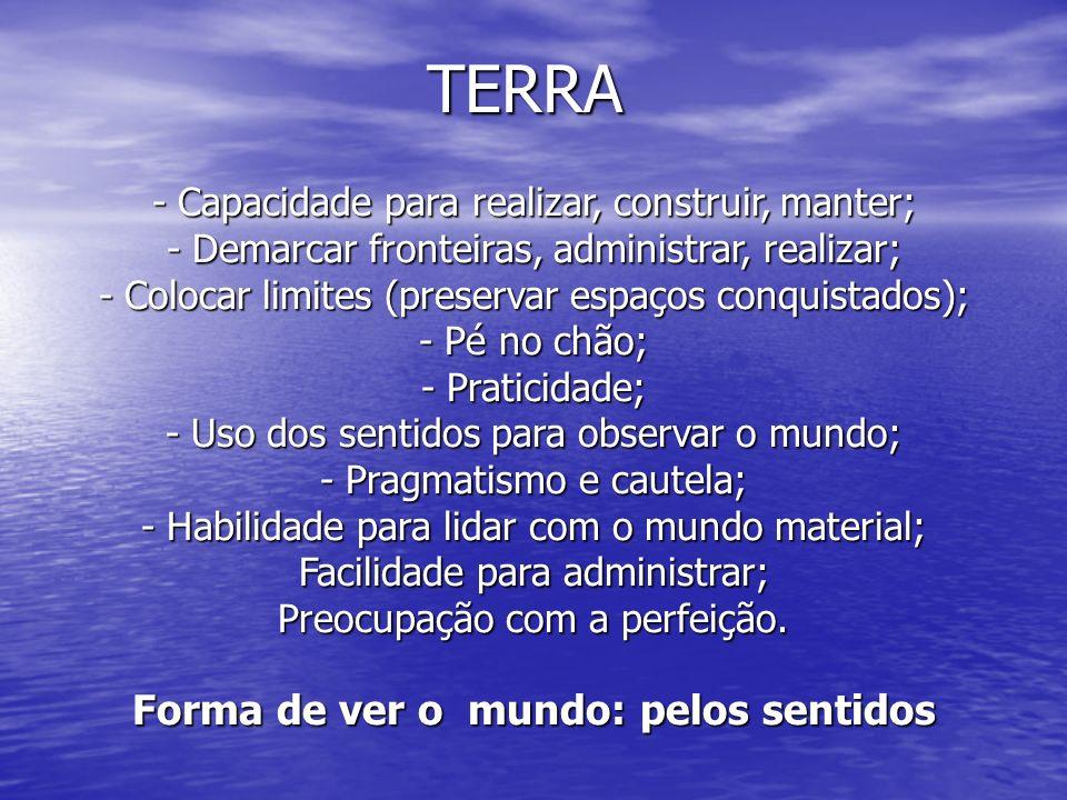 TERRA - Capacidade para realizar, construir, manter; - Demarcar fronteiras, administrar, realizar; - Colocar limites (preservar espaços conquistados);