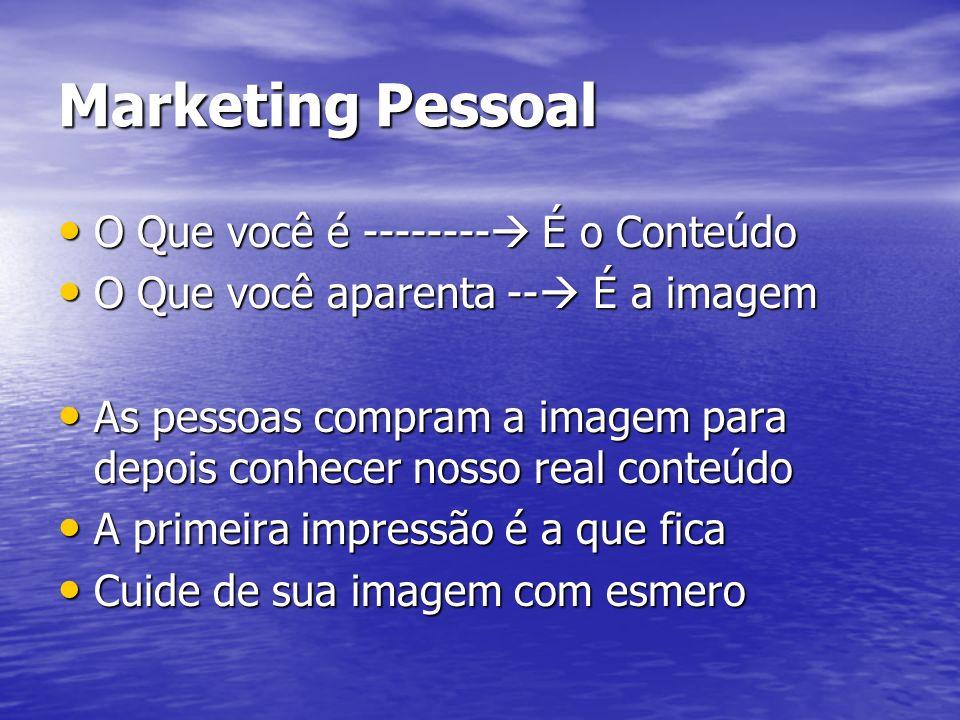 Marketing Pessoal O Que você é -------- É o Conteúdo O Que você é -------- É o Conteúdo O Que você aparenta -- É a imagem O Que você aparenta -- É a i