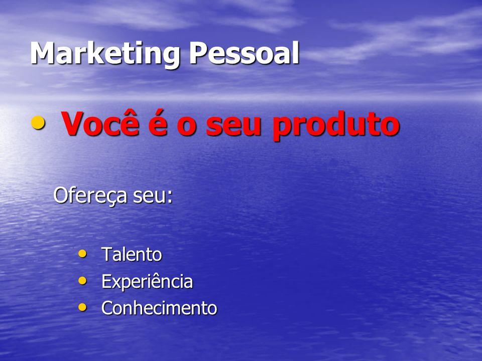 Marketing Pessoal Você é o seu produto Você é o seu produto Ofereça seu: Talento Talento Experiência Experiência Conhecimento Conhecimento
