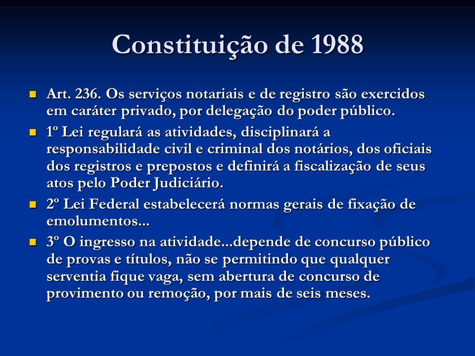 Constituição de 1988 Art. 236. Os serviços notariais e de registro são exercidos em caráter privado, por delegação do poder público. Art. 236. Os serv
