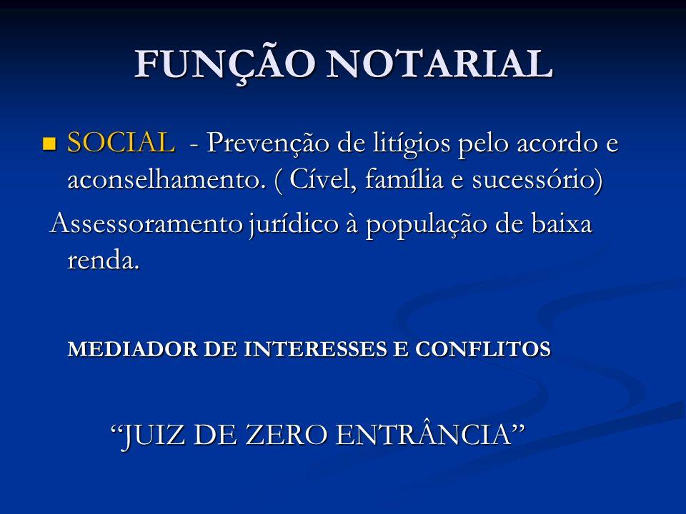 FUNÇÃO NOTARIAL SOCIAL - Prevenção de litígios pelo acordo e aconselhamento. ( Cível, família e sucessório) SOCIAL - Prevenção de litígios pelo acordo