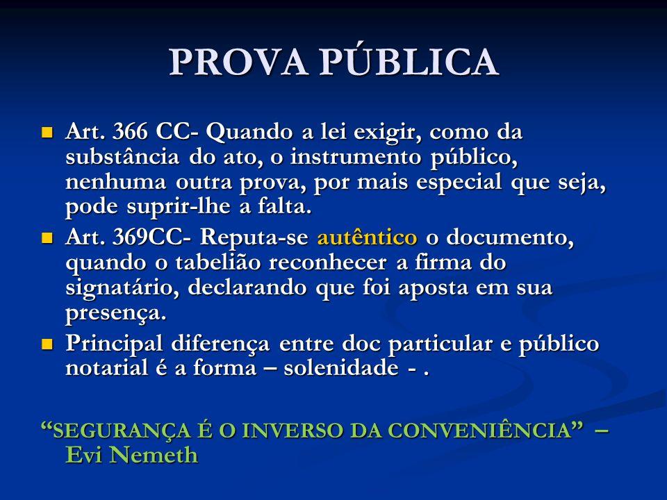 PROVA PÚBLICA Art. 366 CC- Quando a lei exigir, como da substância do ato, o instrumento público, nenhuma outra prova, por mais especial que seja, pod