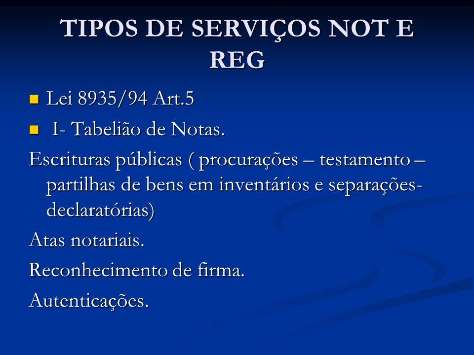 TIPOS DE SERVIÇOS NOT E REG Lei 8935/94 Art.5 Lei 8935/94 Art.5 I- Tabelião de Notas. I- Tabelião de Notas. Escrituras públicas ( procurações – testam