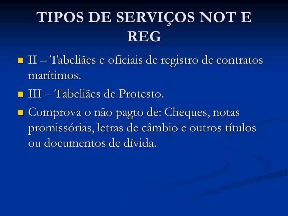 TIPOS DE SERVIÇOS NOT E REG II – Tabeliães e oficiais de registro de contratos marítimos. II – Tabeliães e oficiais de registro de contratos marítimos