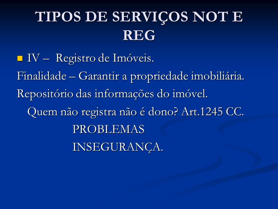 TIPOS DE SERVIÇOS NOT E REG IV – Registro de Imóveis. IV – Registro de Imóveis. Finalidade – Garantir a propriedade imobiliária. Repositório das infor