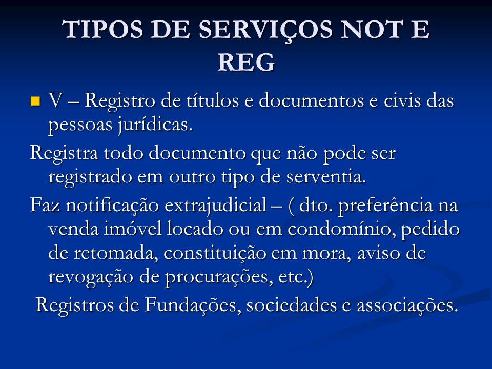 TIPOS DE SERVIÇOS NOT E REG V – Registro de títulos e documentos e civis das pessoas jurídicas. V – Registro de títulos e documentos e civis das pesso