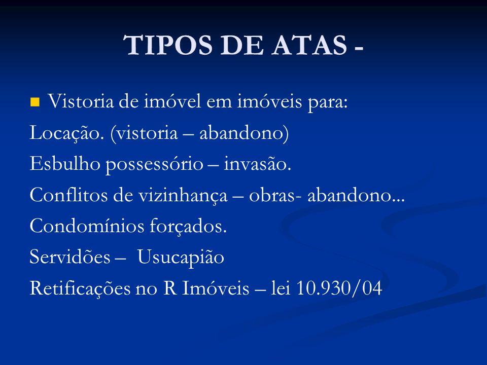 TIPOS DE ATAS - Vistoria de imóvel em imóveis para: Locação. (vistoria – abandono) Esbulho possessório – invasão. Conflitos de vizinhança – obras- aba