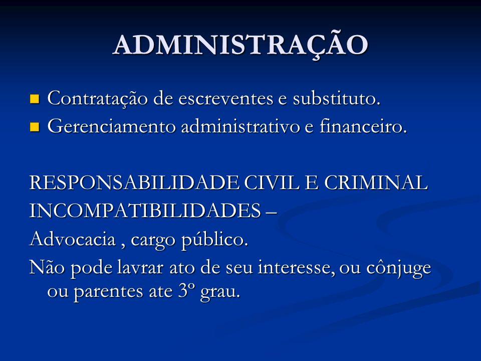 ADMINISTRAÇÃO Contratação de escreventes e substituto. Contratação de escreventes e substituto. Gerenciamento administrativo e financeiro. Gerenciamen