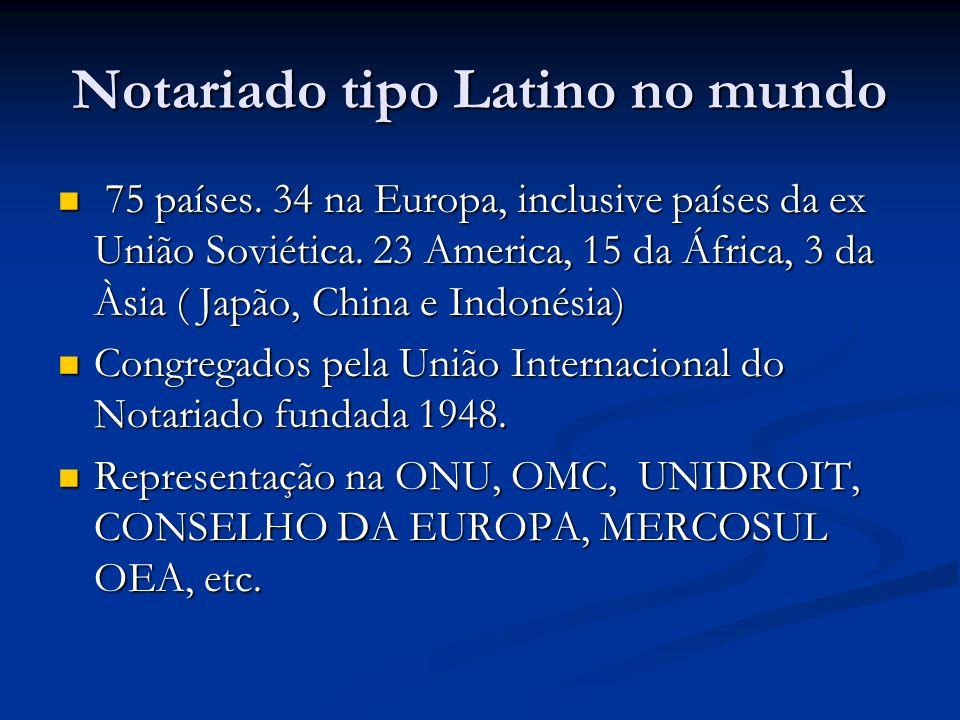 Notariado tipo Latino no mundo 75 países. 34 na Europa, inclusive países da ex União Soviética. 23 America, 15 da África, 3 da Àsia ( Japão, China e I