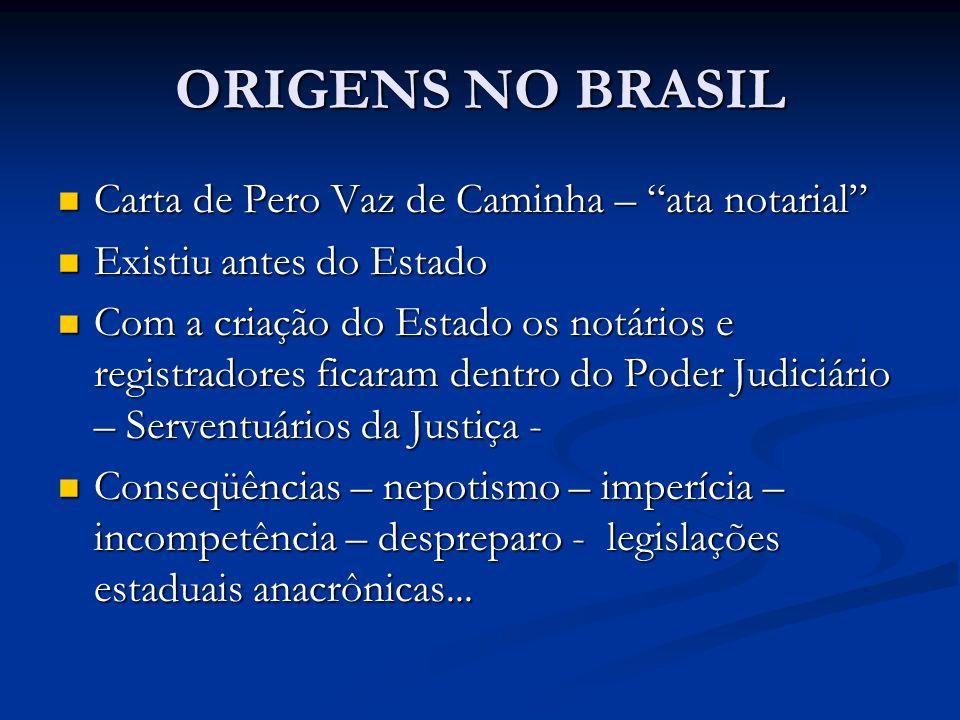 ORIGENS NO BRASIL Carta de Pero Vaz de Caminha – ata notarial Carta de Pero Vaz de Caminha – ata notarial Existiu antes do Estado Existiu antes do Est