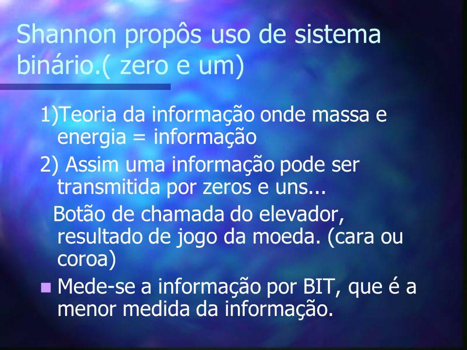 Shannon propôs uso de sistema binário.( zero e um) 1)Teoria da informação onde massa e energia = informação 2) Assim uma informação pode ser transmiti