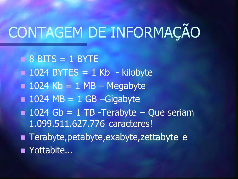 CONTAGEM DE INFORMAÇÃO 8 BITS = 1 BYTE 1024 BYTES = 1 Kb - kilobyte 1024 Kb = 1 MB – Megabyte 1024 MB = 1 GB –Gigabyte 1024 Gb = 1 TB -Terabyte – Que