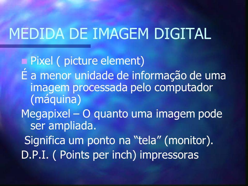 MEDIDA DE IMAGEM DIGITAL Pixel ( picture element) É a menor unidade de informação de uma imagem processada pelo computador (máquina) Megapixel – O qua