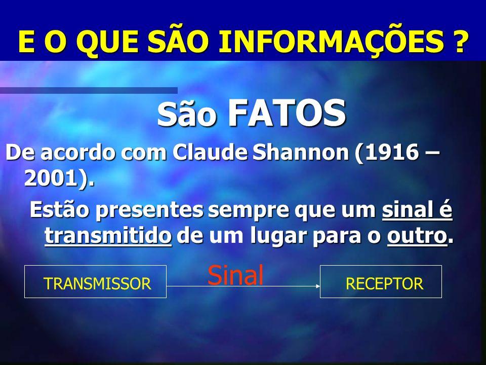 E O QUE SÃO INFORMAÇÕES ? São FATOS São FATOS De acordo com Claude Shannon (1916 – 2001). Estão presentes sempre que um sinal é transmitido de lugar p