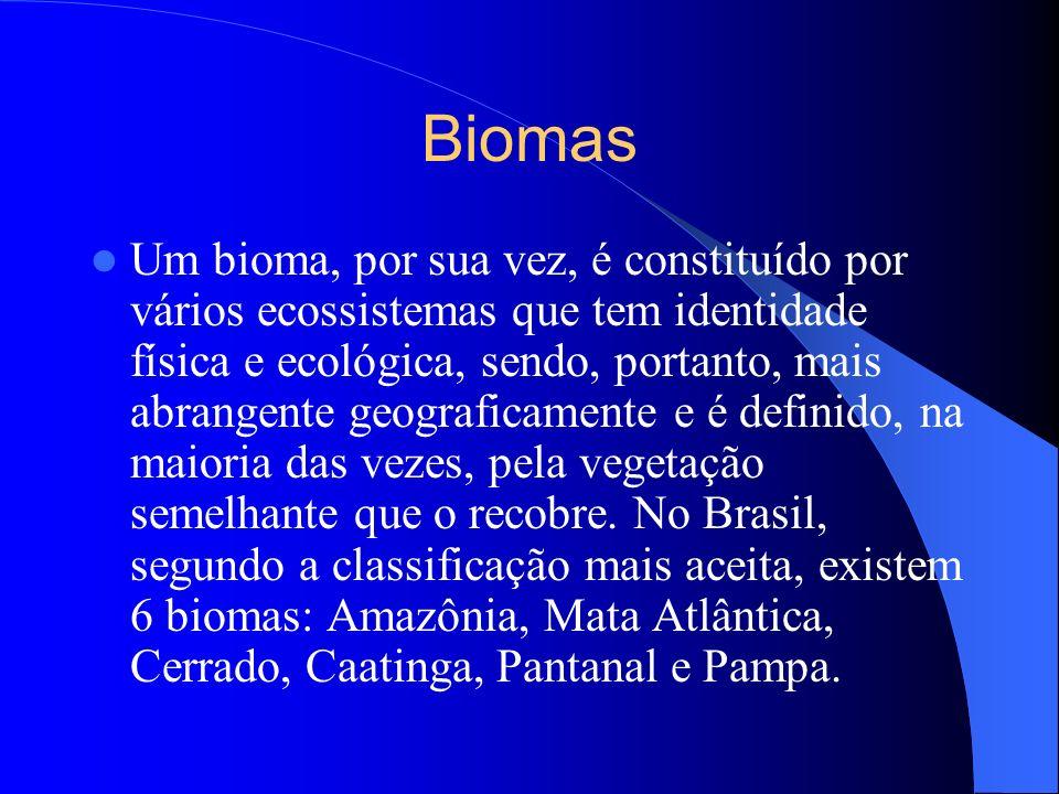 Biomas Um bioma, por sua vez, é constituído por vários ecossistemas que tem identidade física e ecológica, sendo, portanto, mais abrangente geografica