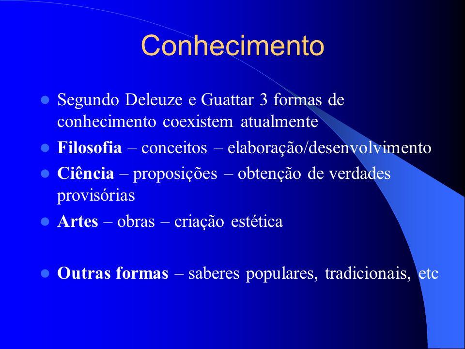 Conhecimento Segundo Deleuze e Guattar 3 formas de conhecimento coexistem atualmente Filosofia – conceitos – elaboração/desenvolvimento Ciência – prop