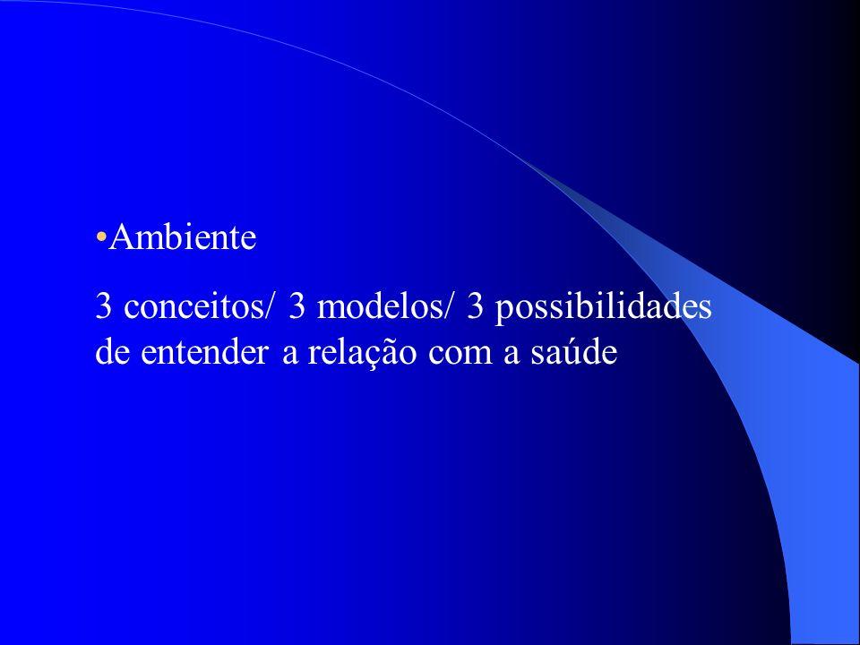 Ambiente 3 conceitos/ 3 modelos/ 3 possibilidades de entender a relação com a saúde