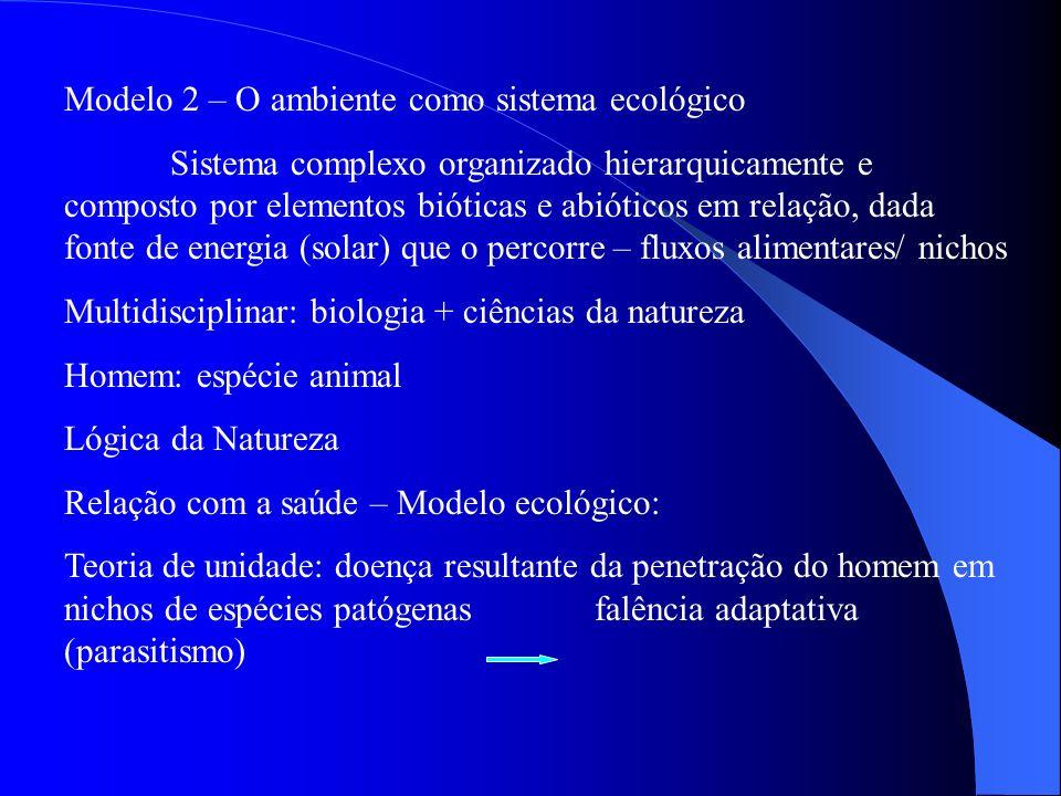 Modelo 2 – O ambiente como sistema ecológico Sistema complexo organizado hierarquicamente e composto por elementos bióticas e abióticos em relação, da
