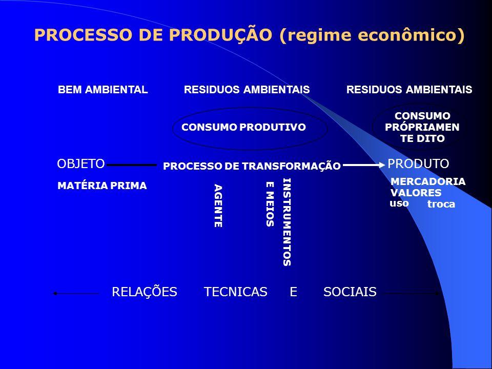 OBJETO PRODUTO PROCESSO DE TRANSFORMAÇÃO CONSUMO PRODUTIVO CONSUMO PRÓPRIAMEN TE DITO PROCESSO DE PRODUÇÃO (regime econômico) AGENTE INSTRUMENTOS E ME