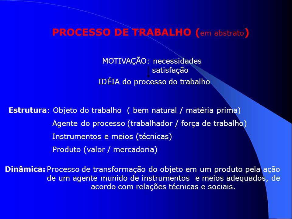 PROCESSO DE TRABALHO ( em abstrato ) MOTIVAÇÃO: necessidades IDÉIA do processo do trabalho satisfação Estrutura: Objeto do trabalho ( bem natural / ma