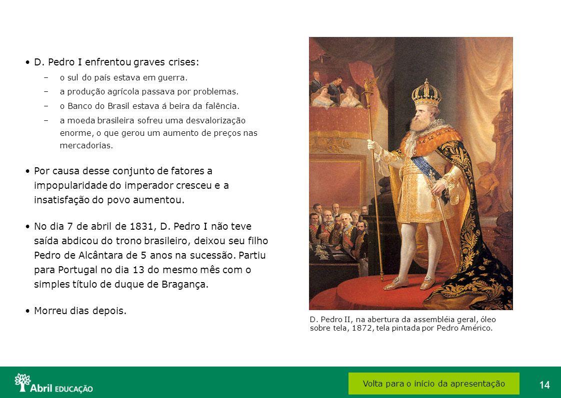 14 D. Pedro I enfrentou graves crises: –o sul do país estava em guerra. –a produção agrícola passava por problemas. –o Banco do Brasil estava á beira