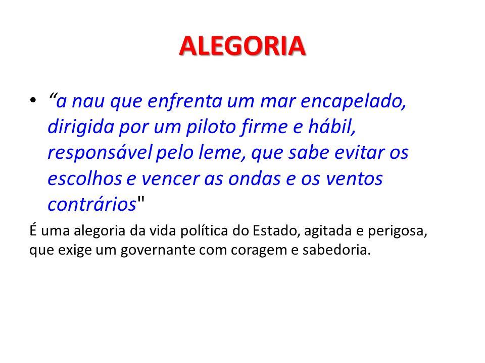 ALEGORIA A ALEGORIA é uma composição simbólica, feita de vários elementos que formam um conjunto coerente e reenviam termo a termo para o conteúdo sig