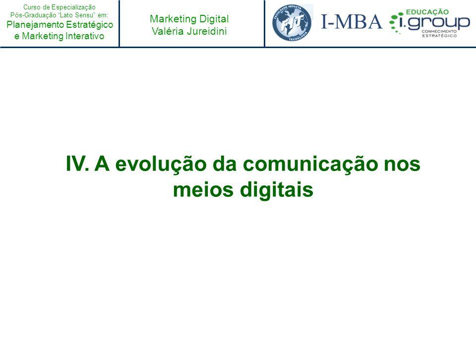 Curso de Especialização Pós-Graduação Lato Sensu em: Planejamento Estratégico e Marketing Interativo I-MBA Marketing Digital Valéria Jureidini IV. A e